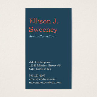 Standard navy blue professional bold type design business card