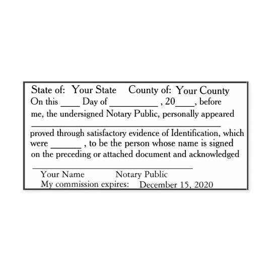 Standard Notary Public Acknowledgement Stamp   Zazzle.com