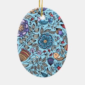 standard of flowers and birds ceramic ornament
