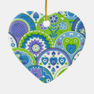 standard of flowers and hearts ceramic ornament
