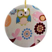 standard of owls and birds ceramic ornament