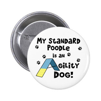 Standard Poodle Agility Dog 2 Inch Round Button