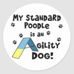 Standard Poodle Agility Dog Round Stickers