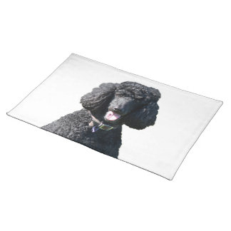 Standard Poodle dog black beautiful photo portrait Cloth Placemat