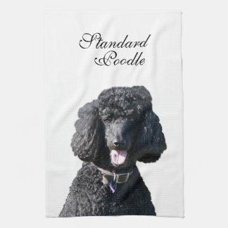 Standard Poodle dog black beautiful photo portrait Hand Towel