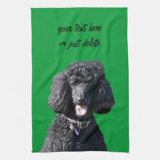 Standard Poodle dog black beautiful photo portrait Kitchen Towel
