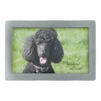 Standard Poodle dog black photo belt buckle