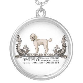 Standard poodle Dog Traits Necklace. Round Pendant Necklace