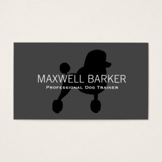 Standard Poodle Silhouette Black on Grey Business Card