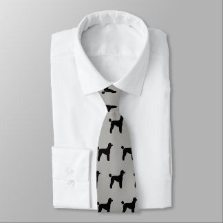 Standard Poodle Silhouettes Pattern Grey and Black Neck Tie