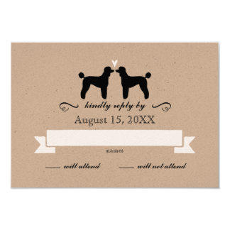Standard Poodle Silhouettes Wedding RSVP Reply Card