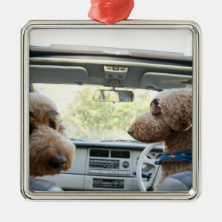 standard poodle square metal christmas ornament