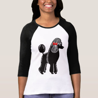 Standard Poodle with Red Bow Ladies Raglan T-Shirt