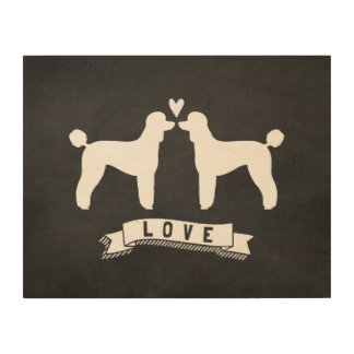 Standard Poodles Love - Dog Silhouettes w/ Heart Wood Wall Art