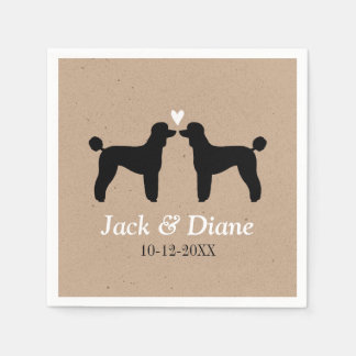 Standard Poodles Wedding Couple with Custom Text Paper Napkin