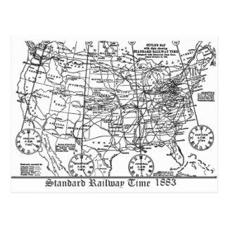 Standard Railway Time Zones 1883 Postcard