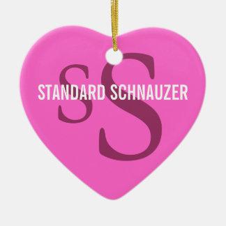Standard Schnauzer Breed Monogram Design Ceramic Ornament