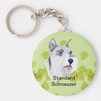 Standard Schnauzer ~ Green Leaves Design Keychain