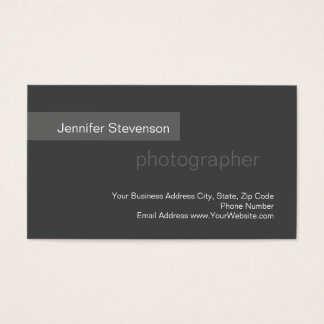 Standard Size Grey Trend Photography Business Card