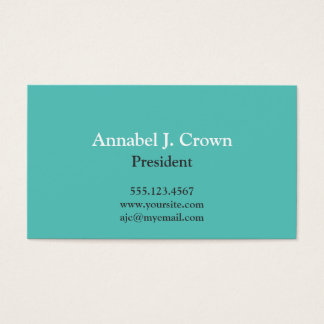 Standard solid teal company logo traditional business card