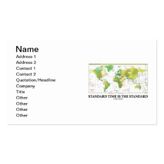 Standard Time Is The Standard (Time Zones Map) Double-Sided Standard Business Cards (Pack Of 100)