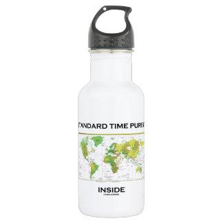 Standard Time Purist Inside (Time Zones World Map) 18oz Water Bottle