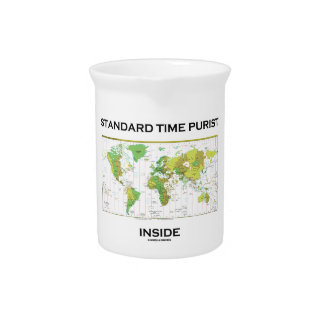Standard Time Purist Inside (Time Zones World Map) Beverage Pitchers