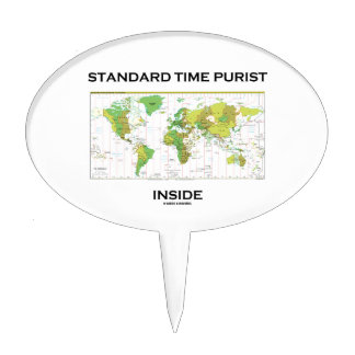 Standard Time Purist Inside (Time Zones World Map) Cake Pick