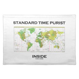 Standard Time Purist Inside (Time Zones World Map) Cloth Place Mat