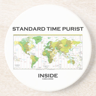 Standard Time Purist Inside (Time Zones World Map) Beverage Coaster