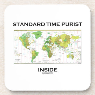 Standard Time Purist Inside (Time Zones World Map) Beverage Coasters
