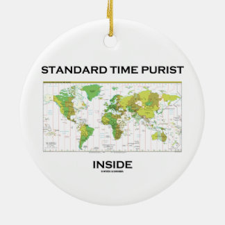 Standard Time Purist Inside (Time Zones World Map) Double-Sided Ceramic Round Christmas Ornament