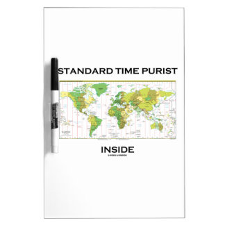 Standard Time Purist Inside (Time Zones World Map) Dry Erase Whiteboards