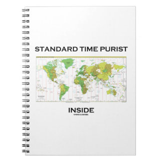Standard Time Purist Inside (Time Zones World Map) Spiral Note Books