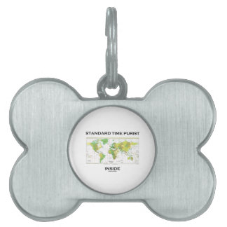 Standard Time Purist Inside (Time Zones World Map) Pet Name Tag