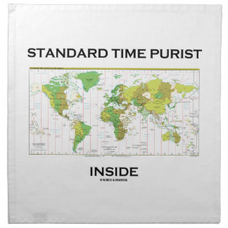 Standard Time Purist Inside (Time Zones World Map) Printed Napkin
