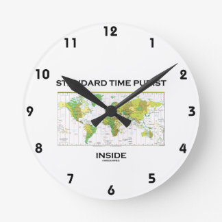 Standard Time Purist Inside (Time Zones World Map) Round Clocks