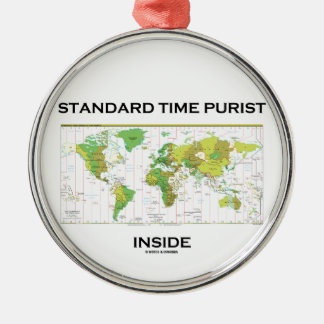 Standard Time Purist Inside (Time Zones World Map) Round Metal Christmas Ornament