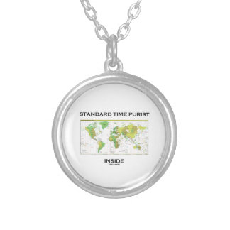 Standard Time Purist Inside (Time Zones World Map) Round Pendant Necklace