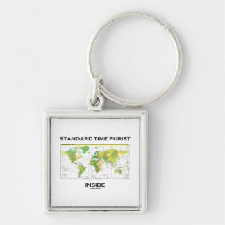 Standard Time Purist Inside (Time Zones World Map) Silver-Colored Square Keychain