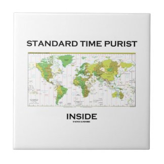 Standard Time Purist Inside (Time Zones World Map) Small Square Tile