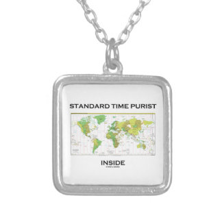 Standard Time Purist Inside (Time Zones World Map) Square Pendant Necklace