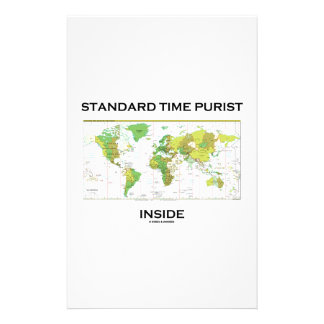 Standard Time Purist Inside (Time Zones World Map) Custom Stationery