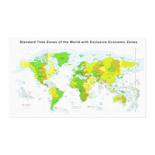 Standard time zones of the world & Economic Zones Canvas Print