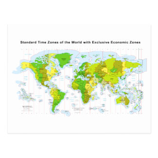 Standard time zones of the world & Economic Zones Postcards