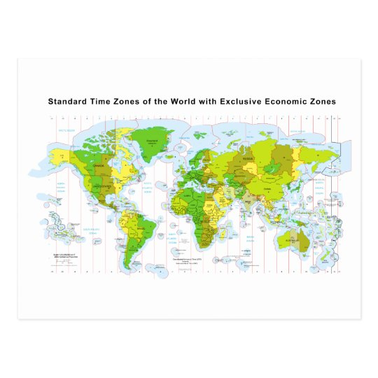 Standard time zones of the world & Economic Zones Postcard