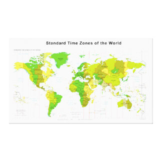 Standard Time Zones World Map 2013 Canvas Print