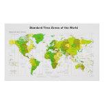 Standard Time Zones World Map 2013 Poster
