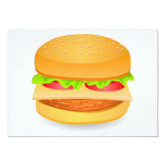 Standard white envelopes with burger print card