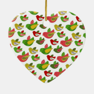 standard with birds Double-Sided heart ceramic christmas ornament
